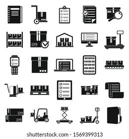 Inventory warehouse icons set. Simple set of inventory warehouse vector icons for web design on white background