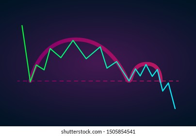 Inverse Cup and Handle vector icon - bearish continuation price chart pattern figure technical analysis. Stock, cryptocurrency graph, forex analytics, trading market breakouts