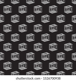 Invertd Repeating Irrational Cube Draw Style Impossible Geometric Figure Inspired by Escher Seamless Pattern Wallpaper - Isometric Elements on Black Background - Vector Line Graphic Design