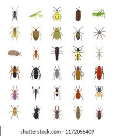 Invertebrates Flat Icons Set