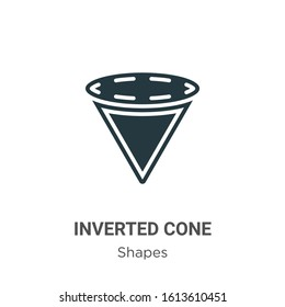 Inverted cone glyph icon vector on white background. Flat vector inverted cone icon symbol sign from modern shapes collection for mobile concept and web apps design.