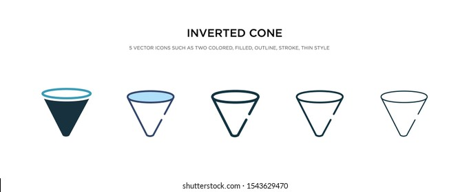 inverted cone icon in different style vector illustration. two colored and black inverted cone vector icons designed in filled, outline, line and stroke style can be used for web, mobile, ui