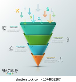 Inverted cone or rounded pyramid consisted of 4 colorful parts, arrows, percent and dollar symbols falling inside it, thin line icons and text boxes. Infographic design template. Vector illustration.