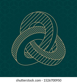 Inverted Impossible Geometric Figure Triple Mobius Loop Inspired by Escher Technical Draw Style - Gold Isometric Object on Cube Pattern Wallpaper Background - Vector Outline Graphic Design