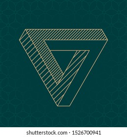 Inverted Mobius Triangle Loop Technical Draw Style Impossible Geometric Figure Inspired by Escher - Gold Isometric Object on Cube Pattern Wallpaper Background - Vector Outline Graphic Design