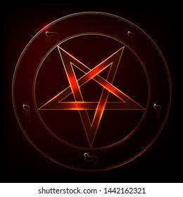 Inverted Pentagram Symbol. Pentagram isolated vector occultism symbol star in circle