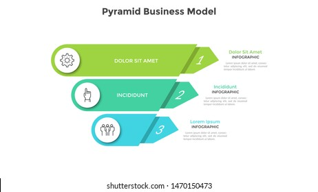 Inverted pyramid divided into 3 colorful parts or layers. Concept of three stages or steps of business progress. Creative infographic design template. Volumetric vector illustration for presentation.