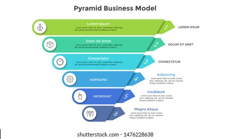 Inverted pyramid divided into 6 colorful parts or layers. Concept of six stages or steps of business progress. Creative infographic design template. Volumetric vector illustration for presentation.