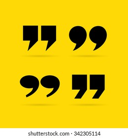 Inverted quote commas vector illustration isolated on yellow background