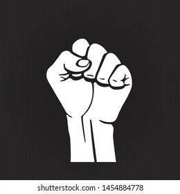 Inverted Raised Hand Clenched into Fist Symbolizing Power or Strength of Unity Contrast Graphic Style Sign Template for Your Logo - Black on Striped Background - Vector Hand Drawn Design