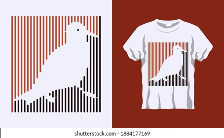 Inverted Silhouette of turtledoves bird with brown and black stripes isolated on white background. Vector T-shirt Inverted Silhouette. Line art t-shirt design. Vector Eps10 file. Editable stroke.