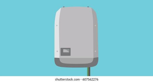Inverter in flat design -  Solar Energy Equipment Concept Image