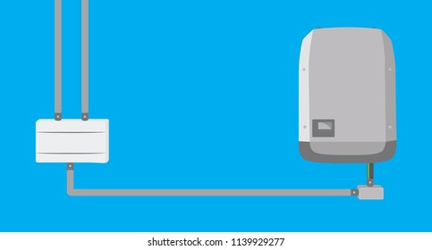 Inverter and string box in flat design - Solar Energy Equipment Concept Image.