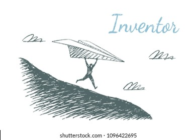 Invertor. A man is running with a big paper airplane trying to take off. Vector lifestyle concept illustration, hand drawn sketch.