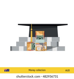 Invest in education concept. Student cap. Money savings for study. Australian Dollar banknote vector illustration.