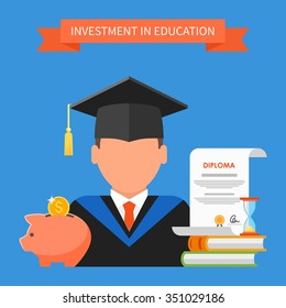 Invest in education concept. Vector illustration in flat style design. Stack of books, diploma and university student cap. Scholarship, money savings, loan.
