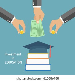 Invest in education concept. Vector illustration in flat style design. Stack of books, diploma and university student cap. Money savings for study - stock vector