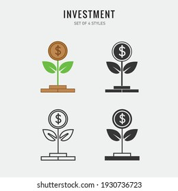 invest finance vector icon money plant growing icon
