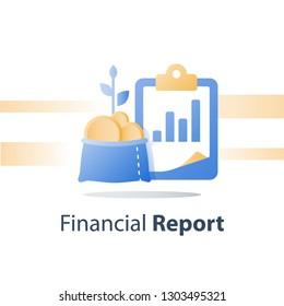 Invest fund growth, lucrative portfolio, vector icon