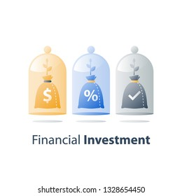 Invest fund, long term investment, future income growth, capital allocation, pension savings account, superannuation concept, bank deposit, value increase, wealth management, vector icon