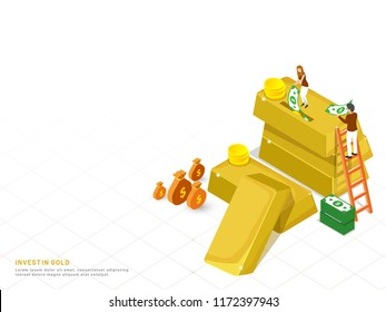 Invest In Gold concept based landing page design, isometric gold bar with coin stacks, miniature people investing their money in gold.