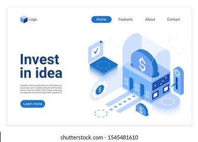 Invest in idea vector isometric landing page template. Crowdfunding website homepage interface layout. Investment, financial. Business strategy. Crowdsourcing web banner, webpage 3D concept