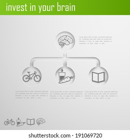 invest in your brain. Infographic elements for web or print design