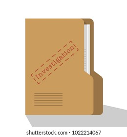 Investigation Confidential and classified data concept illustration. paper with folder and label file confidential. flat vector illustration