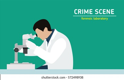 Investigation. Laboratory studies evidence. Forensic procedure. Murder investigation. Flat style illustration. An employee examines with a microscope the evidence