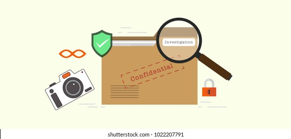 Investigations Confidential data Concept on File / folder label with magnify glasses, lock, camera, and private data icon. digital investigation forensic. flat vector illustration.