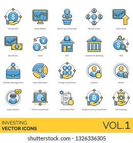 Investing icons including investment, stock market, return, mutual funds, grow, buy, forex, REIT, banking, risk, portfolio management, asset allocation, foreign, investor, broker, robo advisor, online