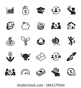 Investing Icons stock illustration. A line graph pointing upwards, a bag of money, a graduation cap, a person holding cash, a piggy bank, a stack of coins, an investment made with a handshake, a home.