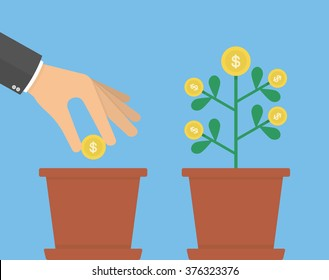 Investing money concept. Hand putting golden coin in to the flower pot. Flat design