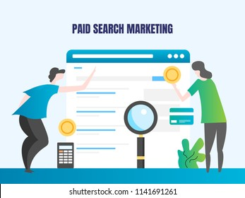 Investing on paid search marketing, paid advertising on search engine, digital marketing strategy - flat design banner illustration