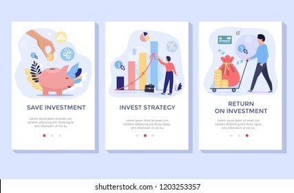 Investing Plans concept illustration set, perfect for banner, mobile app, landing page
