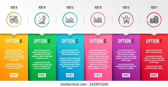 Investment, Accounting and Bitcoin graph icons simple set. Trade infochart, Shopping and Currency signs. Economic statistics, Supply and demand. Finance set. Infographic template. 6 steps timeline