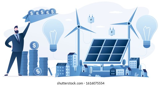 Investment to alternative energy. Businessman invests in сlean and green city energy.  Solar panel and windmills,money fly on paper airplanes. Urban landscape. Saving money and nature concept. Vector