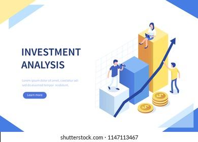 Bannière de concept d'analyse des investissements avec caractères. Peut être utilisé pour des bannières web, des infographies, des images de héros.  Illustration vectorielle isométrique à plat isolée sur fond blanc.