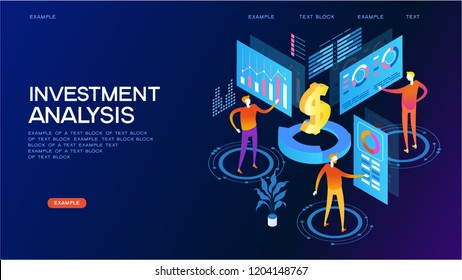 investment analysis concept. Modern 3d isometric vector illustration of web page.  Design concept.