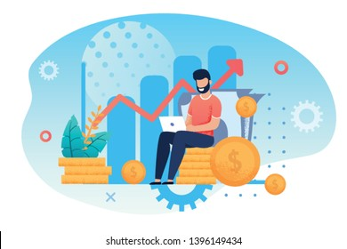 Investment and Analysis Money Cash Profits Metaphor. Freelancer, Employee or Manager Making Investing Plans, Calculating Benefits on Laptop. Vector illustration Career Growth and Business Success