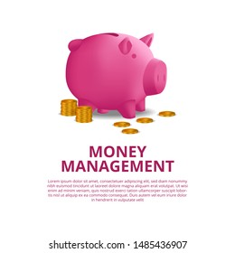 investment budgeting saving money finance with illustration of 3D pink piggy bank with golden coin