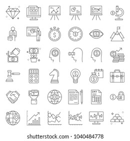 Investment and business analyze, thin line icon set
