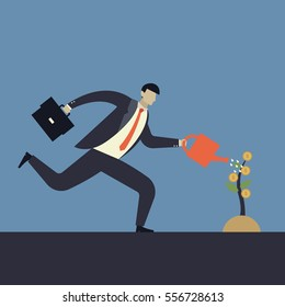 Investment. Businessman watering a money tree. Business concepts in vector.