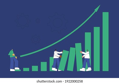 Investment concept. Business success. Financial growth. Stock market  boom. Lucky retail investors. Shares rally. Minor shareholders getting money. Vector flat color illustration.