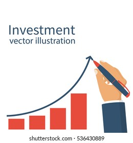 Investment concept. Businessman hold pen draws a line graph arrow with increasing investment. Management strategy marketing. Chart financial gain. Vector illustration flat design.