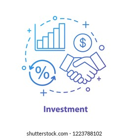 Investment concept icon. Agreement idea thin line illustration. Partnership. Profit growth. Handshake. Stock market analyzing.  Vector isolated outline drawing