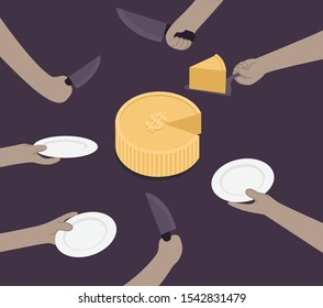 INVESTMENT CONCEPT.MONEY CAKE CUTTING.DIVIDING MONEY.MANY HANDS WAITING FOR THEIR CUT.WAITING FOR PROFITS.SHAREHOLDING