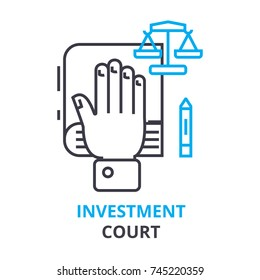 investment court concept, outline icon, linear sign, thin line pictogram, logo, flat illustration, vector