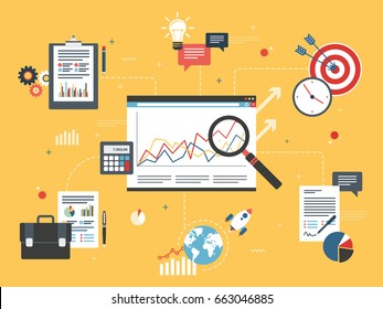 Investment data and business report, graphs with growth on app screen in internet browser. Business and investment icons, marketing, finance, sucess in business. Flat design vector illustration.