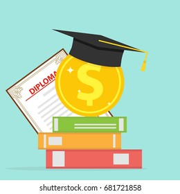 Investment in education. A gold coin with books and a graduate cap. Flat design, vector illustration, vector.